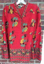 What VA Around Comes rosso Multi floreale tunica di cotone top camicetta shirt-m
