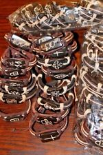 New Bracelet LEATHER Cuff Adjustable Ankle Symbols & Signs Lot of 40