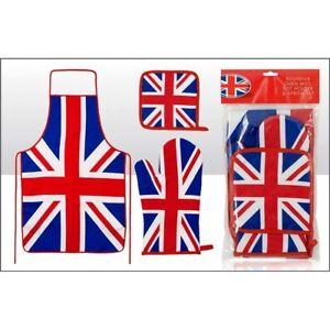 Union Jack Apron, Oven Glove and Pot Holder set