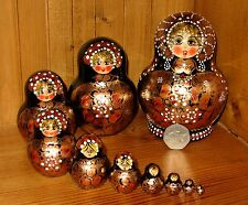 Russian Nesting Doll Matryoshka Hand Painted 10 BLACK GOLD Babushka Signed