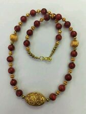 "Afghan Natural Coral & Gold Plated Beads Necklace 23.5"" Handmade Jewelry"