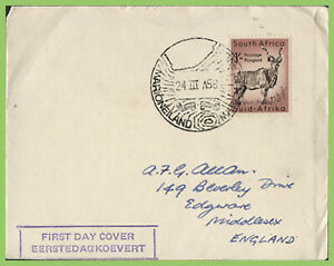 South Africa 1956 !/- Animal definitive First Day Cover, Marioneland pmk