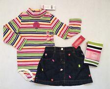 NWT Gymboree Candy Shoppe 3 3T Striped Lollipop Bodysuit Denim Skirt & Tights