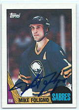 Mike Foligno signed 1987-88 Topps hockey card Buffalo Sabres autograph #40