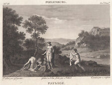 1814 Original Copperplate Engraving Paysage Landscape Cornelis van Poelenburgh