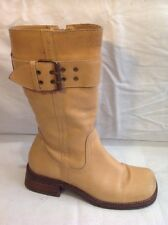 Dolcis Beige Mid Calf Leather Boots Size 38