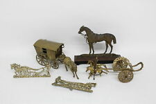 5 x Vintage Decorative BRASS HORSES Inc. Horse & Cart, Wood Base Etc 3987g