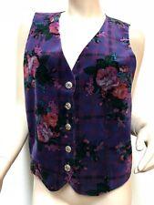 Vintage Jantzen Classics Purple Velvet Style Vest Gold Buttons Checkered Floral