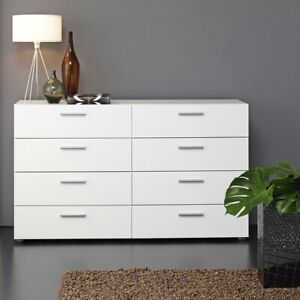 Wide Chest of 8 Drawers (4+4) in White  Bedroom Furniture Pepe Style