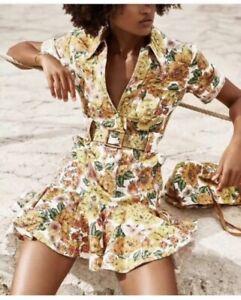 BNWT Zimmermann Poppy belted linen mini dress AUS Size 2/ USA 6