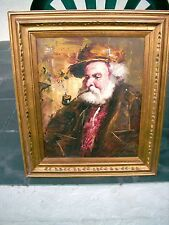 """MAN WITH PIPE OIL PAINTING & FRAME 27"""" X 23"""" GARICA? JEANMARIE GALLERY NEW YORK"""