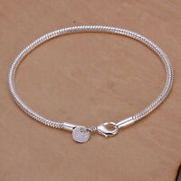Women Men Silver Tone Snake Chain Charm Bracelet With Lobster Clasp LE