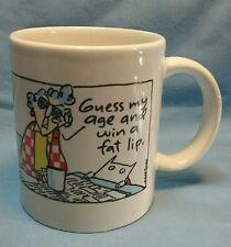 Maxine GUESS MY AGE WIN A FAT LIP Shoebox Greetings coffee tea mug cup humor