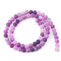 6 8 10 mm Natural Stone Agate Frosted Crab Purple Round Loose Beads Jewelry DIY
