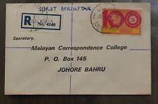 Malaysia cover - stamp on ULU KINTA handstamp reg label