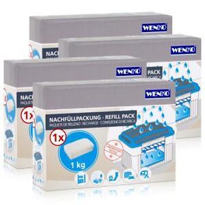 4x Wenko Nachfüllpackung Feuchtigkeitskiller Raum-Entfeuchter, 1kg Granulat