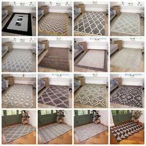 Modern Small Large Grey Rugs Soft Non Shed Traditional Geometric Living Room Rug