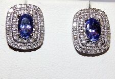10KT WHITE GOLD OVAL 1CT TANZANITE & 0.35CT  DIAMOND CLUSTER STUD EARRINGS