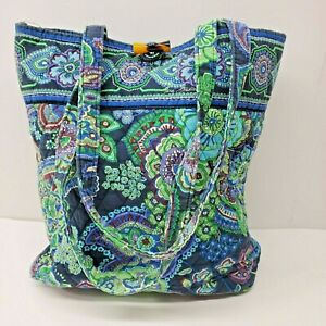 Vera Bradley Toggle Tote Bag Purse Blue Rhapsody Paisley
