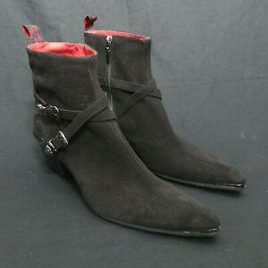 JEFFERY-WEST 'MUSE' Black Suede SYLVIAN Winklepicker zip Boot UK 8