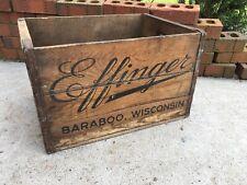 Vintage Wooden Beer Crate Effinger Brewing Baraboo Wisconsin Wood Box