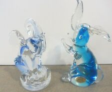 Two Glass paperweights Mouse Elephant Murano Art