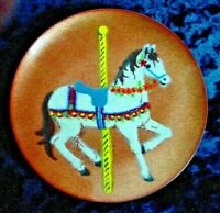 Annemarie Davidson Signed Enamel Dish With Carousel Horse