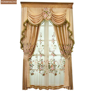 luxury living room chenille embroidery cloth blackout curtain valance B721