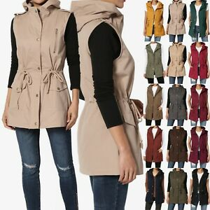 TheMogan Military Drawstring Relaxed Fit Hoodie Vest Sleeveless Utility Jacket