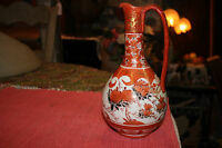 Vintage Japanese Satsuma Moriage Water Tea Pitcher Open Handle Painted Flowers