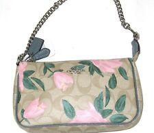 Coach F25787 Large Wristlet 19 Floral Logo Print Khaki Blush Pink Green NWT $150