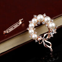 Diamante Flower Pearl Brooch Scarf Buckle Pin Crystal Wedding Gift Accessories