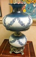 Vintage 1967 GIM Hurricane Lamp Gone With The Wind Blue Floral Garland Large 23""