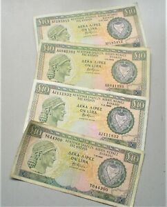 Cyprus, Four Ten Pound Banknotes 1988-1992, Used condition {G785}