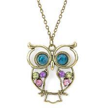 Retro Vintage Antique Bronze Rhinestone Owl Ladies Women Pendant Necklace