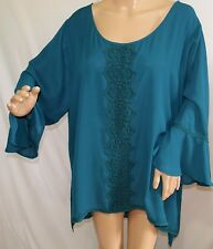 4a8b5e02eecdf Spense Women Plus Size 2x Hi Lo Semi Sheer Dark Teal Chiffon Tunic Top  Blouse