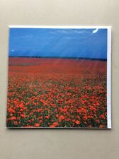 Blank Inside Greeting Card Scenery & Nature - Downland Poppies North Of Shoreham