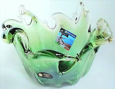 MURANO Hombre Green HANDBLOWN Glass Bowl with Splash Top Edge . NWT . Gorgeous