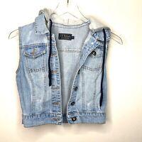 Ci sono Cavalini fashion Blue Hoodie Denim Jean vest Small
