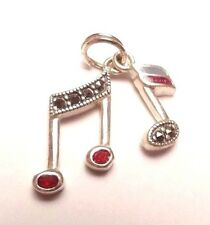 VINTAGE MUSICAL NOTES TONE MUSIC MARCASITE PENDANT CHARM SU STERLING SILVER 925