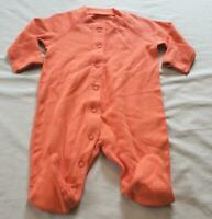 Moon & Back Unisex One-Piece With Scratch Mitts & Closed Toe CL8 Orange Newborn