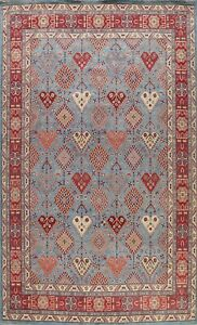 Vegetable Dye Super Kazak Geometric Oriental Area Rug Hand-knotted Tribal 9'x12'