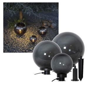 LED Leuchtkugel schwarz Kugel Ø 20/30/40 cm Gartendeko E27 Rauchglas Optik