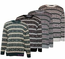 Men's Knitted Pullover Top Nordic Acrylic Aztec Fair Isle Jumpers Size S to XL