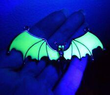 UV GREEN/ GUNMETAL BLACK VAMPIRE BAT NECKLACE choker halloween goth emo bib C3