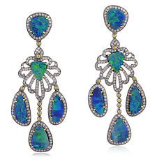 Pave Diamond Doublet Opal Chandelier Earrings 18kt Gold Silver Designer Jewelry
