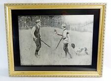 """A. B. Frost Vintage 1908 Art Print """"The Conciliator"""", 17"""" x 13"""" Gold Toned Frame"""