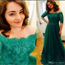 Off Shoulder Green Lace Mother of the Bride Dresses Half Sleeves Evening Gowns