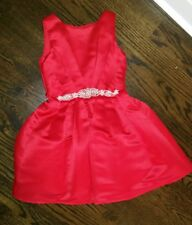 GIRLS BLUSH by US ANGELS RED SATIN SLEEVELESS HOLIDAY PARTY DRESS RHINESTONES 8