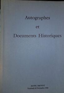 1968 Catalogue de VENTE DROUOT AUTOGRAPHES ET DOCUMENTS HISTORIQUES